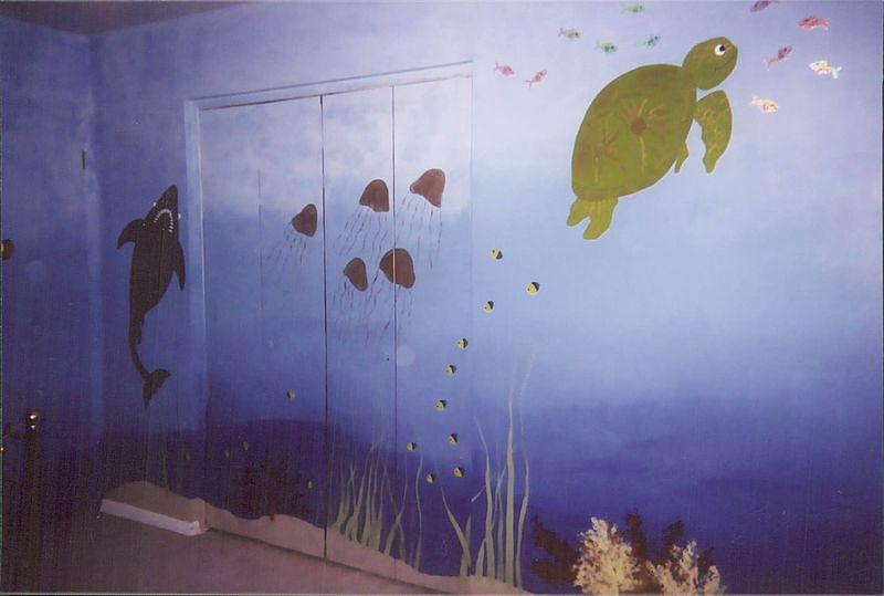 Shark Painting - Under The Sea Mural II by Anna Villarreal Garbis