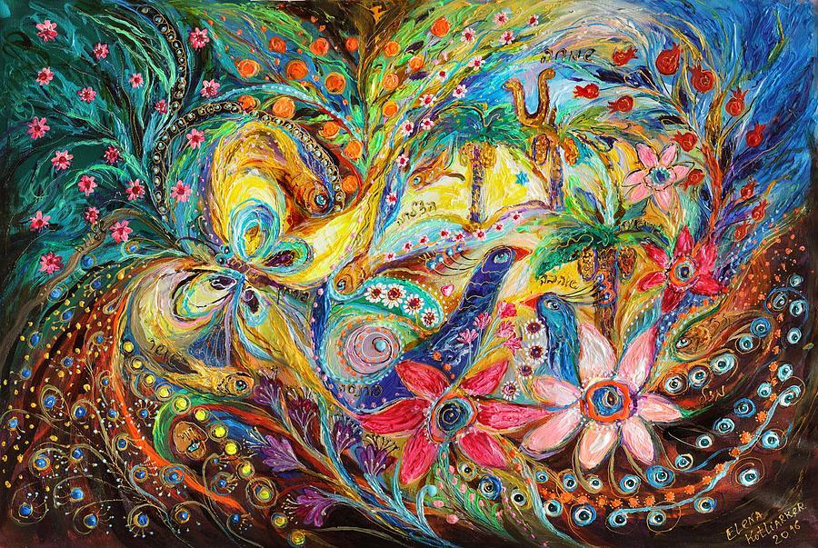 Judaica Store Painting - Under The Shadow Of Date Tree by Elena Kotliarker
