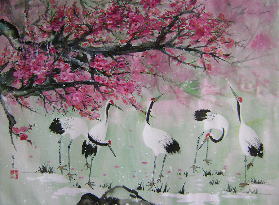 Birds Painting - Under The Snow Plums 2 by Lian Zhen