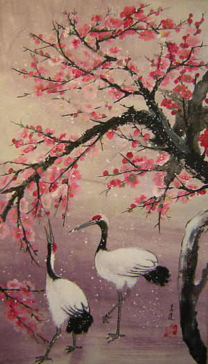 Birds Painting - Under The Snow Plums1 by Lian Zhen