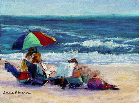 Beach Painting - Under The Umbrella by Lorrie Turner