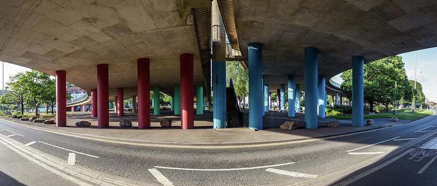 Architecture Photograph - Under The Viaduct A Panoramic Urban View by Jacek Wojnarowski