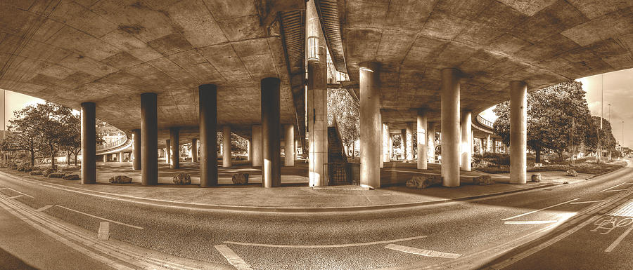 Architecture Photograph - Under The Viaduct B Panoramic Urban View by Jacek Wojnarowski