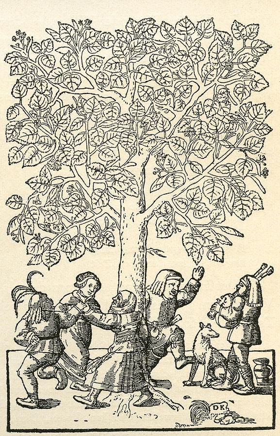 Welsh Drawing - Under The Village Linden Tree by Vintage Design Pics