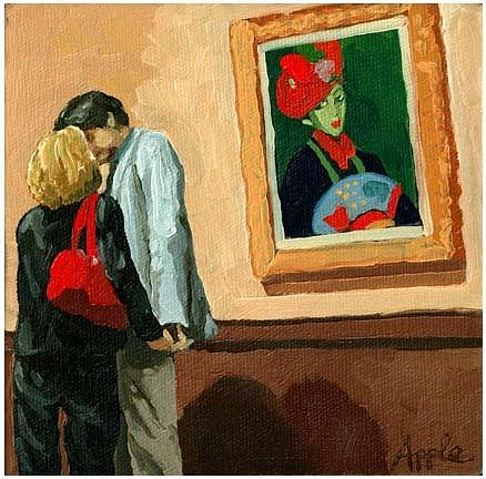 Art Museum Painting - Under Watchful Eyes by Linda Apple