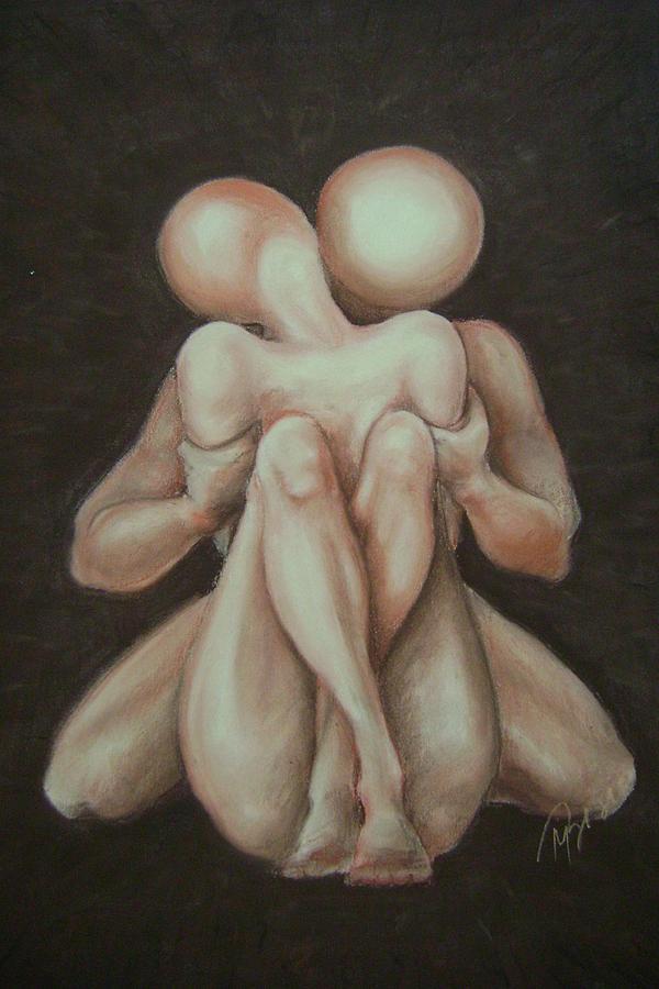 Nude Figure Pastel - Under Your Wing-surrender by Meliha Bisic