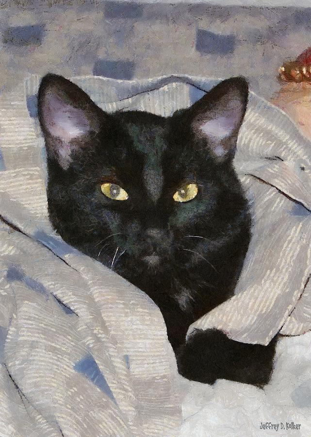 Cat Painting - Undercover Kitten by Jeff Kolker