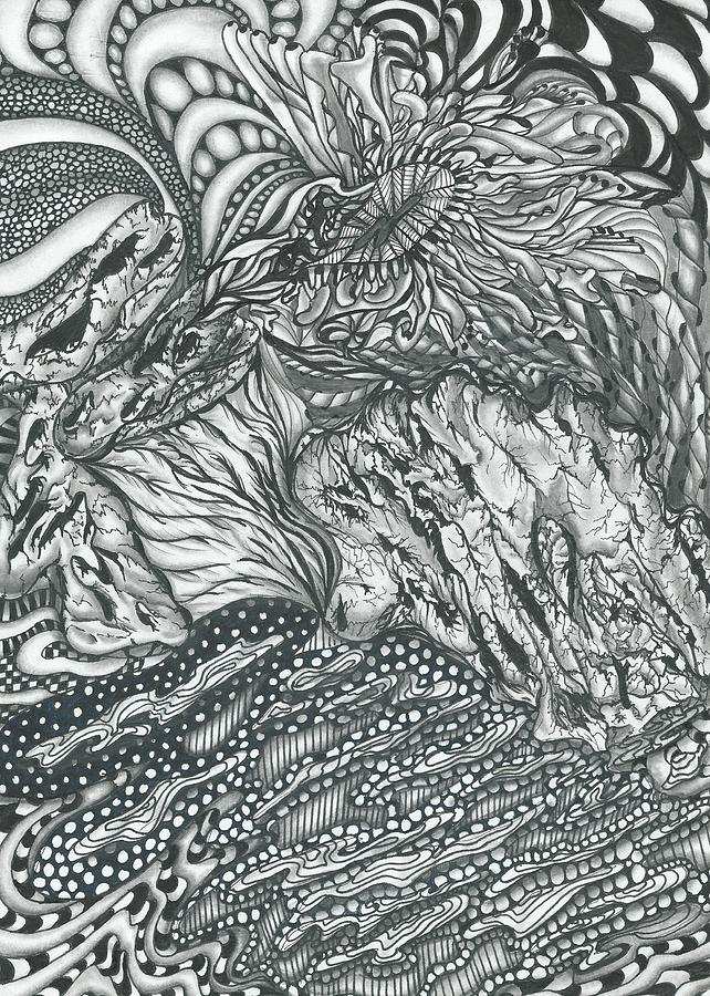 Drawing Drawing - Underneath The Sea by Delila Bishop