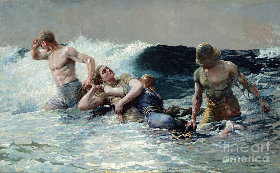 Undertow Painting - Undertow by Winslow Homer