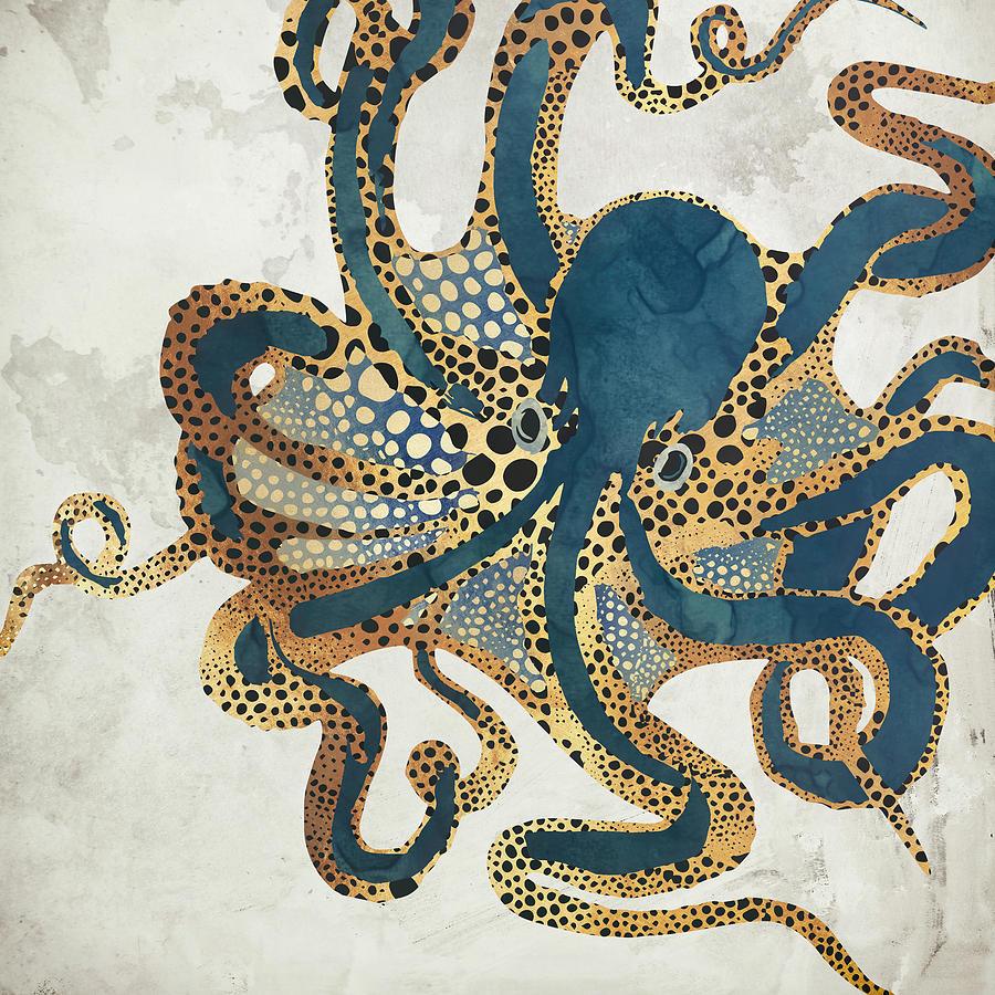 Octopus Digital Art - Underwater Dream VI by Spacefrog Designs