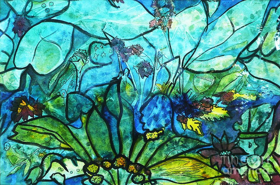 Abstract Painting - Underwater Fantasy by Marilyn Brooks