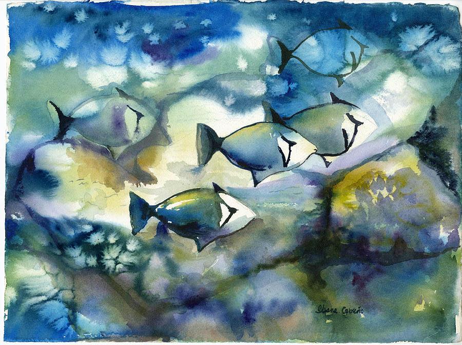 Underwater Fish Painting by Ileana Carreno