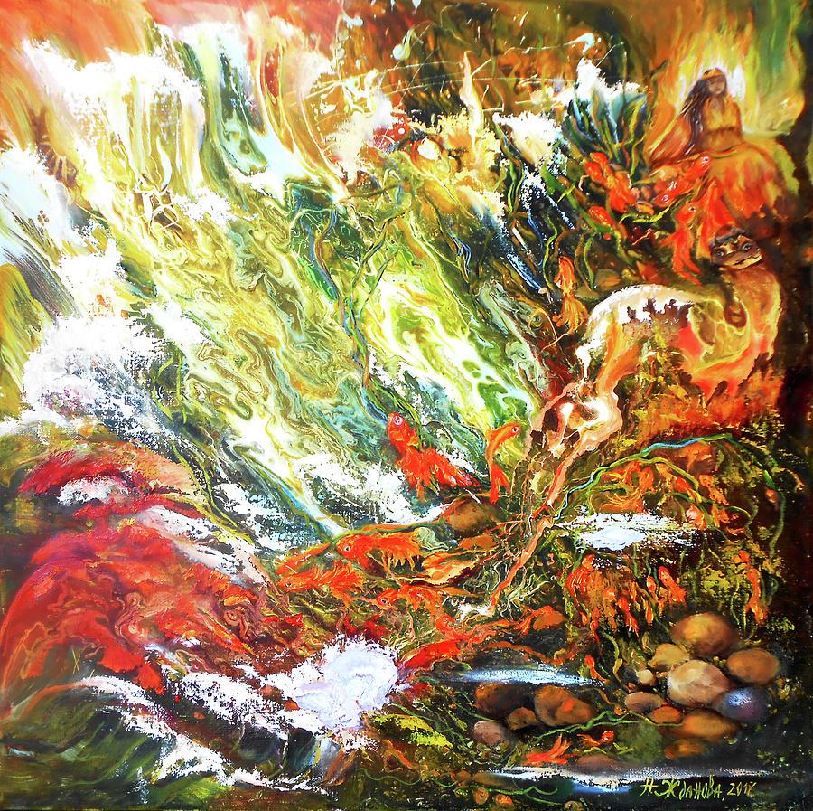 Odyssey Painting - Underwater Odyssey In Abstract/simbolism Style  by Natalya Zhdanova