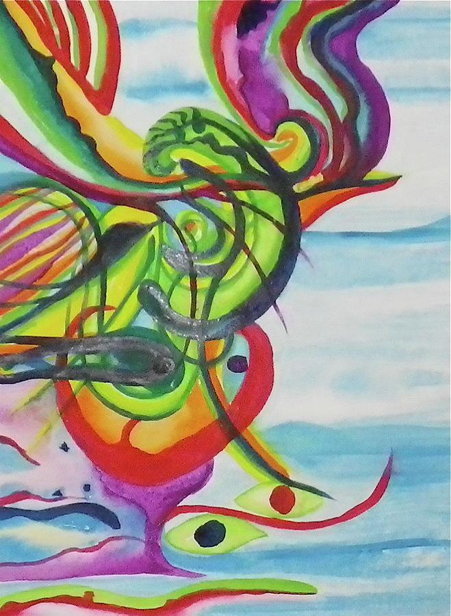 Underwater Painting - Underwater Psychedelic Bird by Erika Swartzkopf