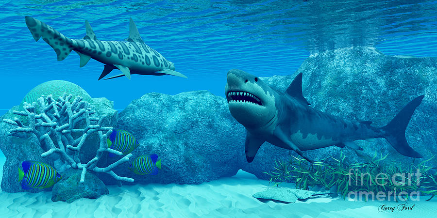 Great White Shark Painting - Underwater World by Corey Ford