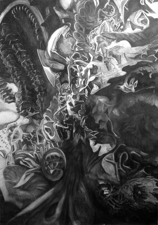 Drawing Drawing - Underworldscape After Gaudi by Alberto Martorana