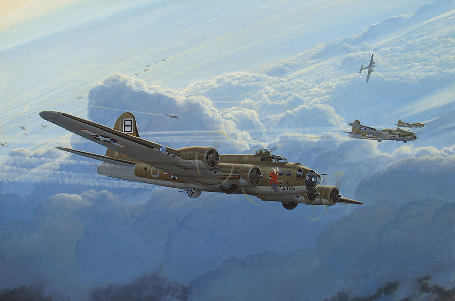 B-17 Painting - Undesirable Company by Steven Heyen