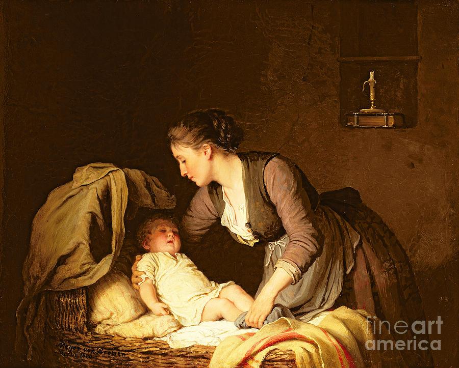 Undressing Painting - Undressing The Baby by Meyer von Bremen