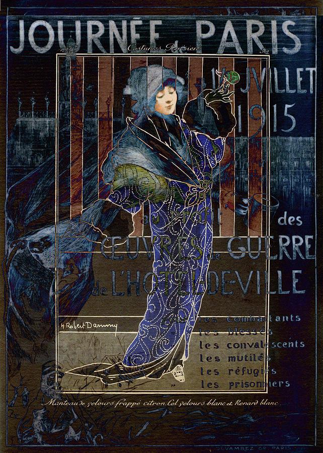 Costume Digital Art - Une Valentine Parisienne by Sarah Vernon