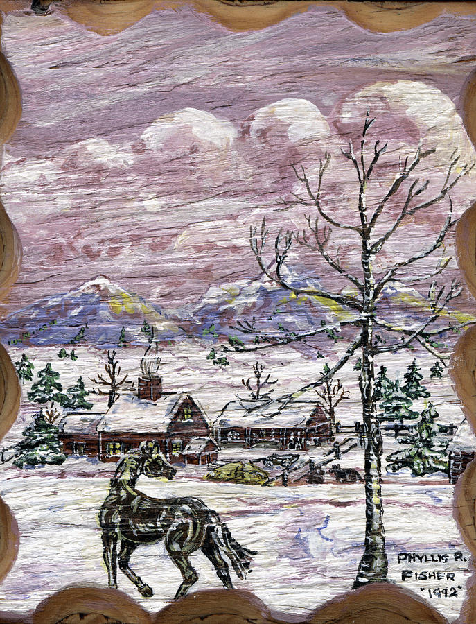 Snow Scene Painting - Unexpected Guest II by Phyllis Mae Richardson Fisher