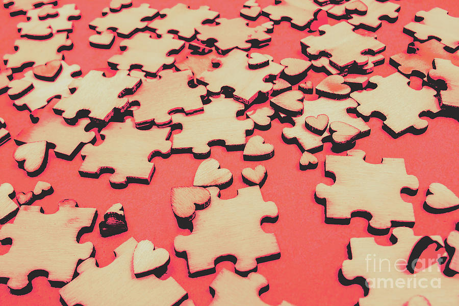 Jigsaw Photograph - Unfinished Hearts by Jorgo Photography - Wall Art Gallery