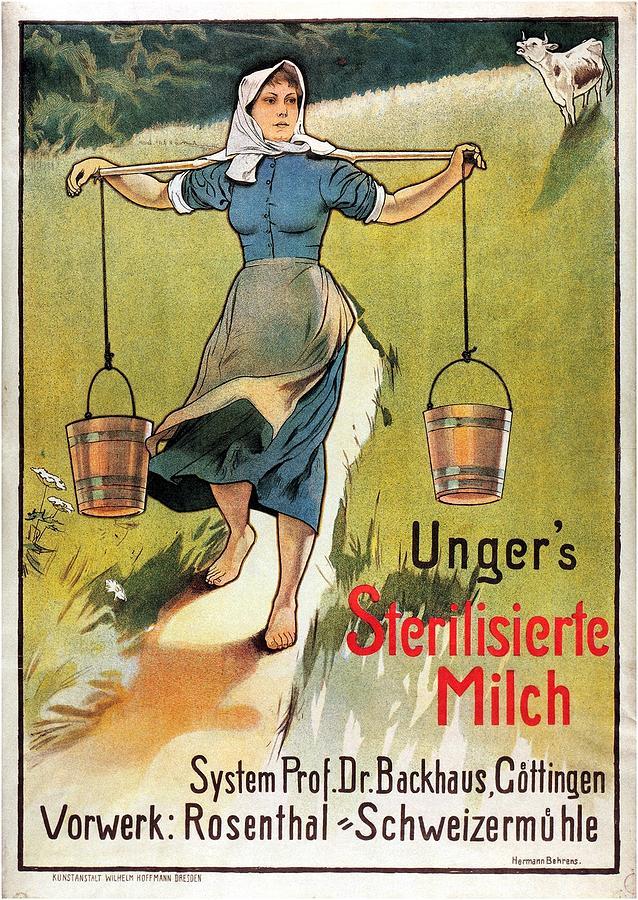 Ungers Sterilisierte Milch - Sterilized Milk - Vintage Milk Advertising Poster Mixed Media