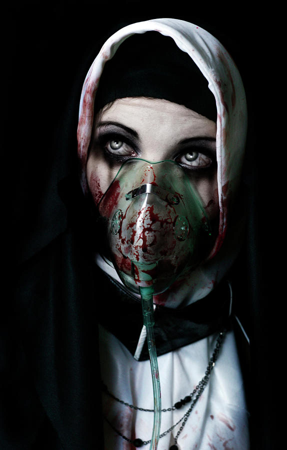 Nun Sister Evil Satanic Bloody Diseased Horror Scary Ill Plague Black Death Dead Aids God Worship Prayer Pray Gothic Goth Gothy Disease Deadly Blood Weep Halloween Weeping Crying Oxygen Mask Religious Religion Atheist Christian  Photograph - Unholy by Aston Futcher