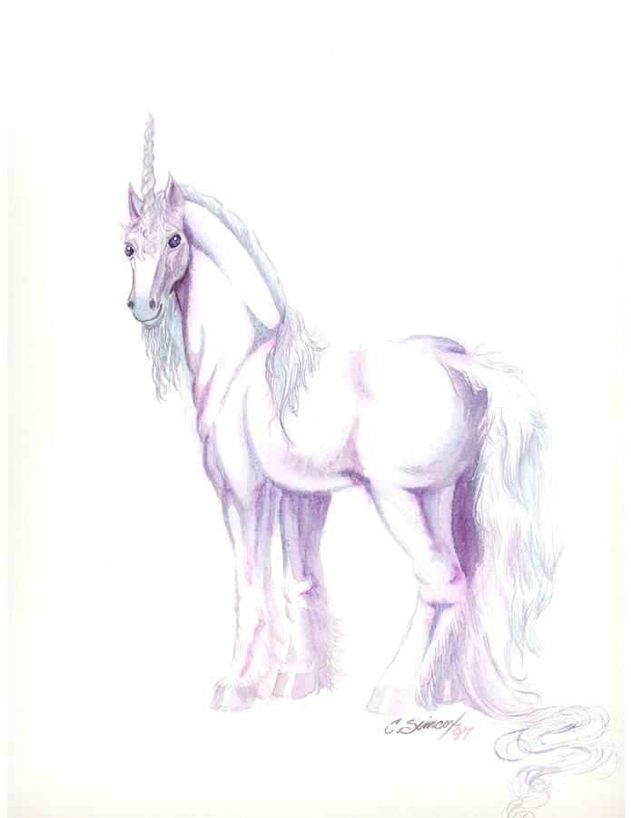 Horse Painting - Unicorn by Christine Winters