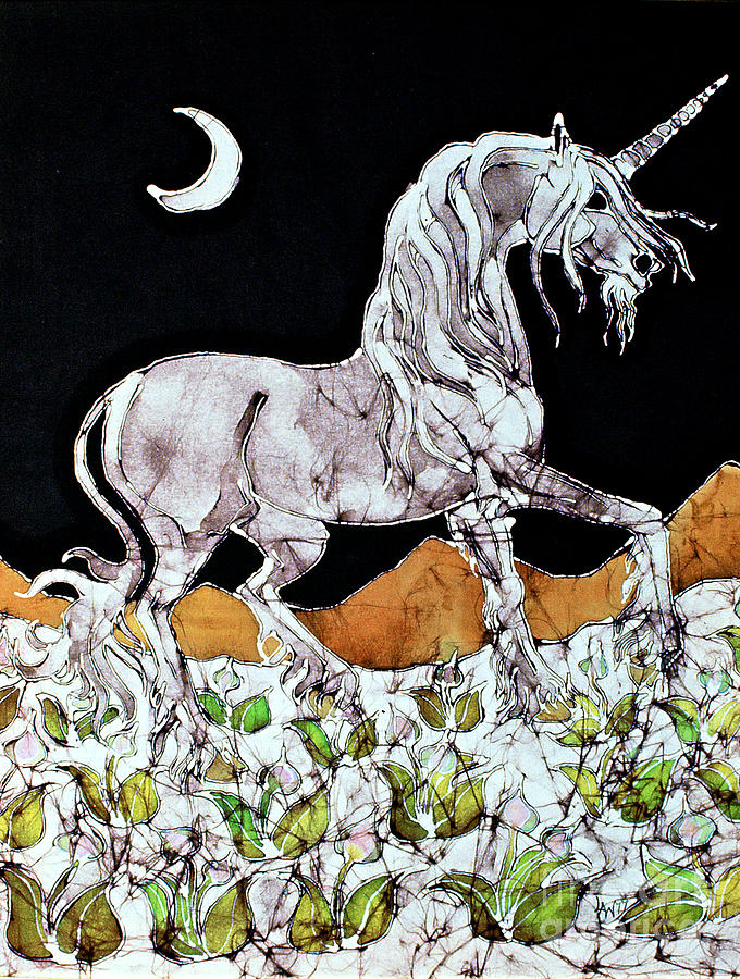 Horse Tapestry - Textile - Unicorn Over Flower Field by Carol  Law Conklin