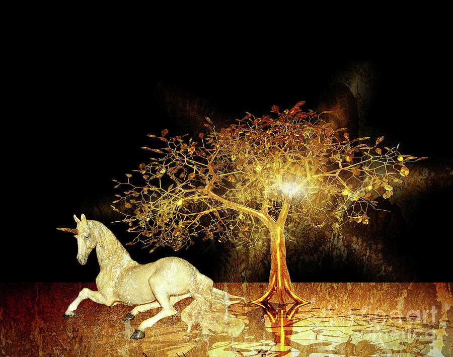 Unicorn Resting Series 1 by Digital Art Cafe