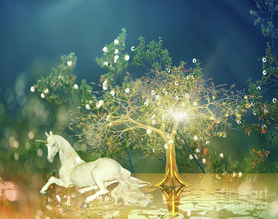 Unicorn Resting Series 2 by Digital Art Cafe