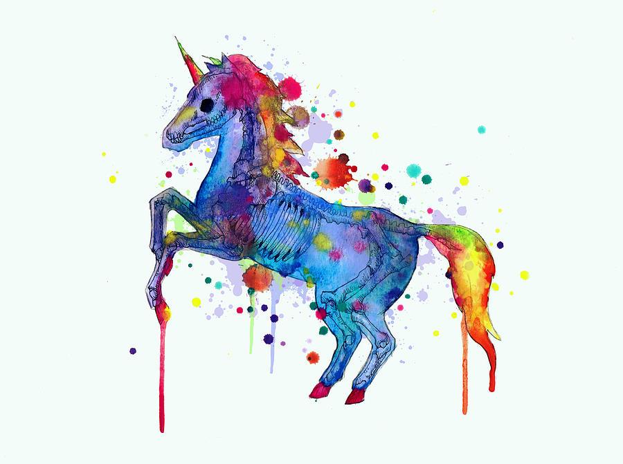 Unicorn Drawing - Unicorn Skeleton 2.0 by Ludwig Van Bacon