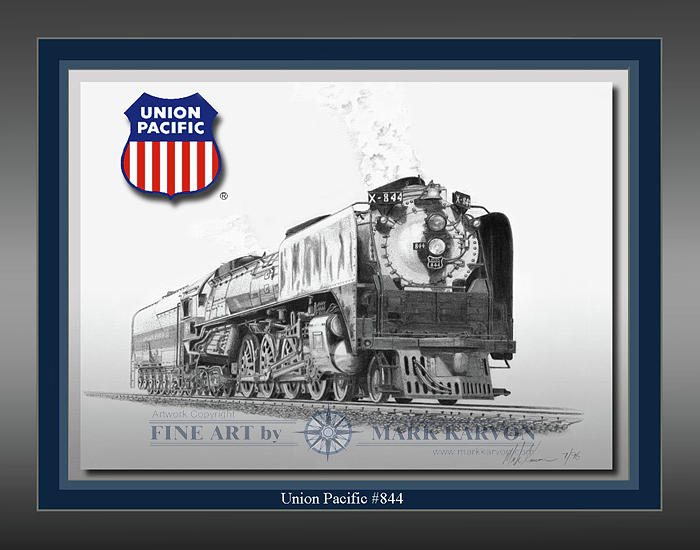 Railroad Drawing - Union Pacific 844 by Mark Karvon