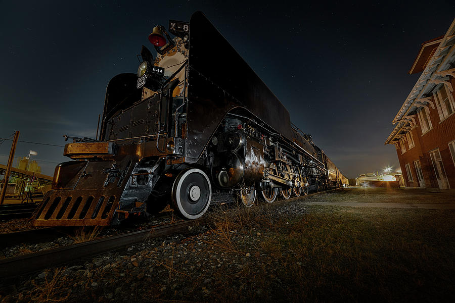 Union Pacific Engine 844 at rest in Fairbury Nebraska at the Rock Island Depot by Art Whitton