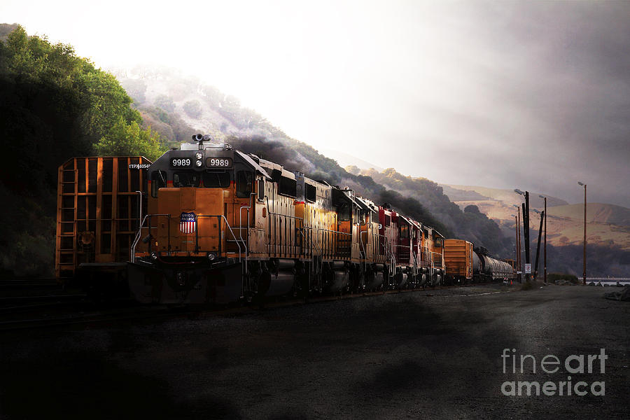 Transportation Photograph - Union Pacific Locomotive At Sunrise . 7d10561 by Wingsdomain Art and Photography