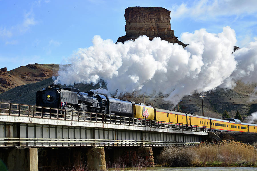 Trains Photograph - Union Pacific Steam Engine 844 And Castle Rock by Eric Nielsen