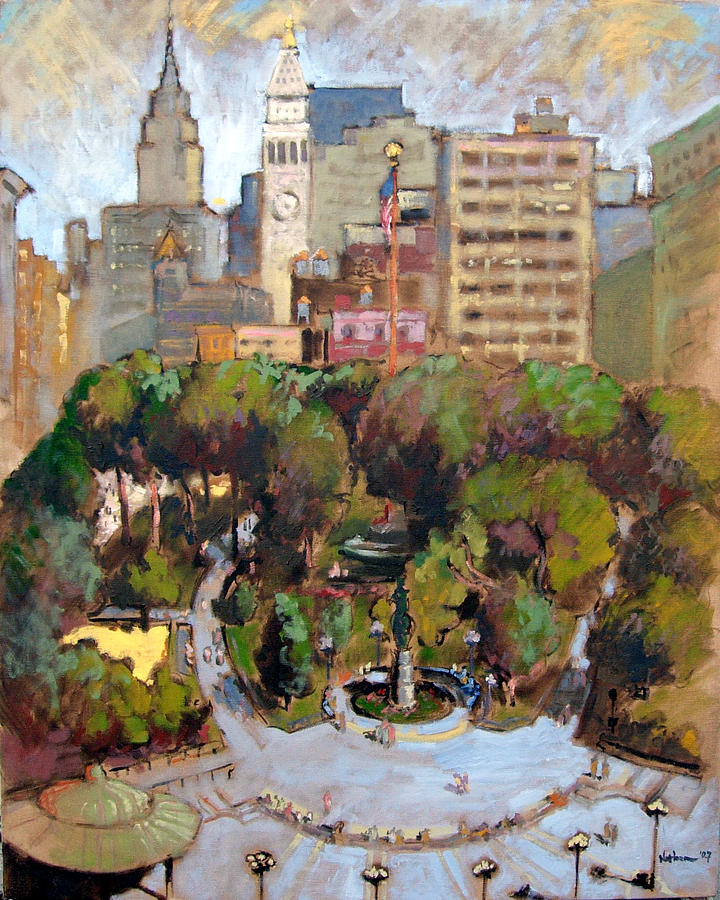 Landscape Painting - Union Square New York City by Nathan Mellott