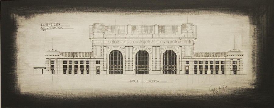 Union station blueprint drawing by gregory lee union station drawing union station blueprint by gregory lee malvernweather Image collections