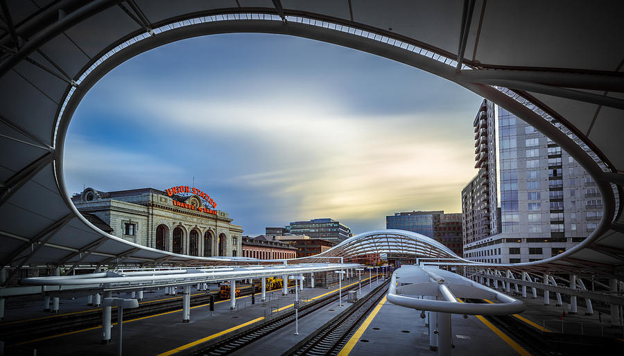 Architecture Photograph - Union Station Denver - Slow Sunset by Jan Abadschieff