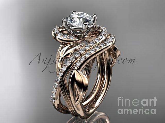 Unique 14kt Rose Gold Diamond Leaf And Vine Engagement Ring Set