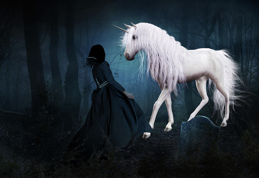 White Unicorn Mixed Media - Unique And Extraordinary by Solomon Barroa