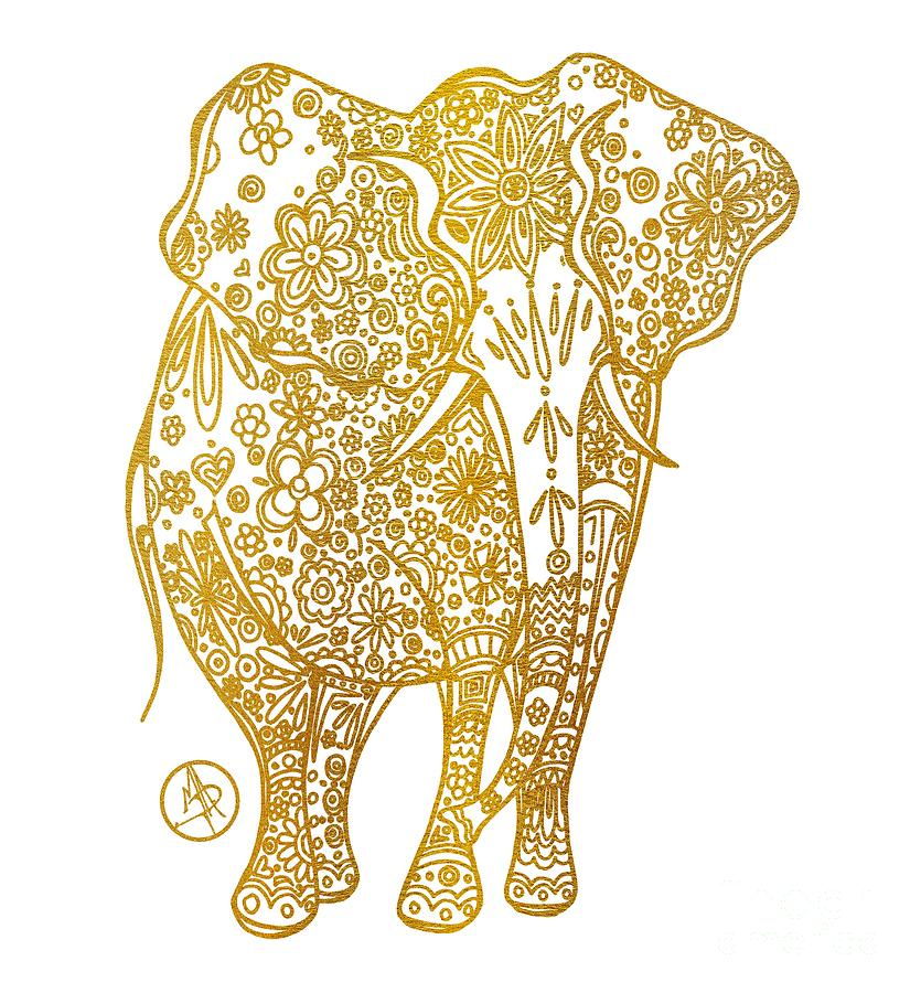 Unique Golden Elephant Art Drawing By Megan Duncanson Mixed Media by ...