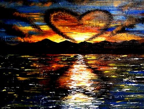 Valentine Painting - Unique Landscape Seascape Heart Cloud Sunset by Teo Alfonso