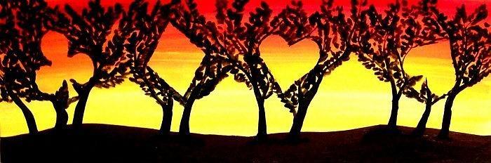 Las Vegas Painting - Unique Sunset Poker Suits Trees Landscape - Sunset by Teo Alfonso