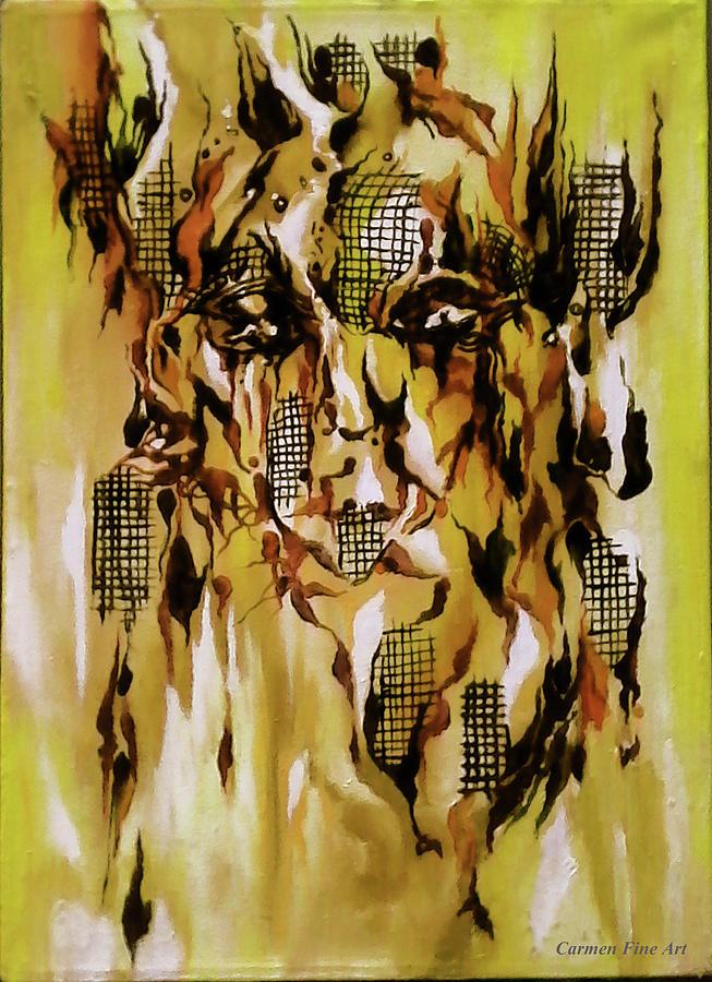 Abstract Portrait Painting - Unique View by Carmen Fine Art