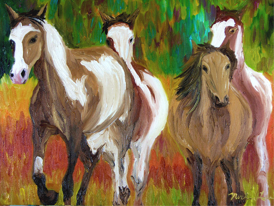 Mustangs Painting - United By Color by Michael Lee