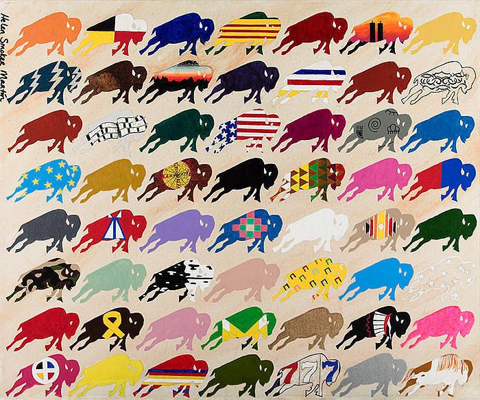 Buffalo Painting - United Colours Of Buffalo by Helen Smoker Martin