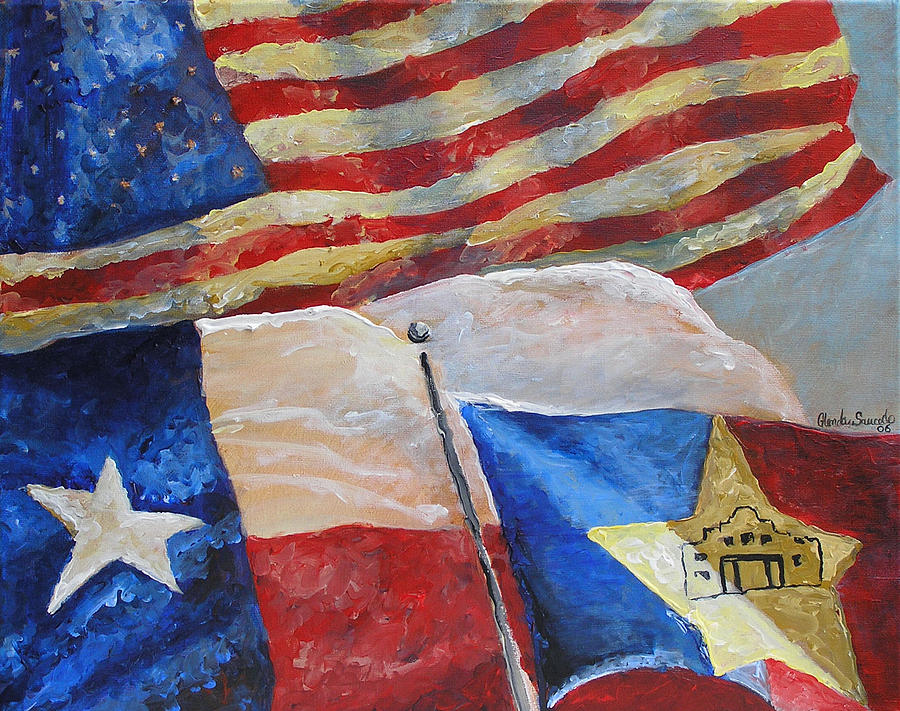Texas Painting - United Flags by Glenda Saucedo