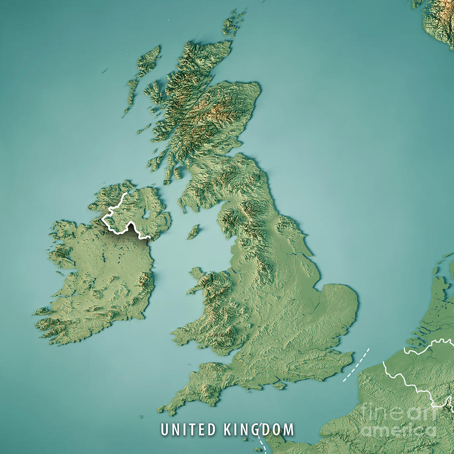 3d Terrain Map Of Uk.United Kingdom Country 3d Render Topographic Map Border