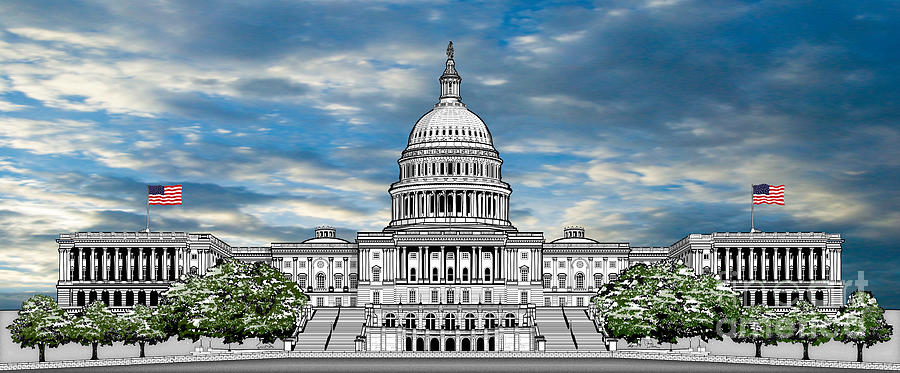 United States Capitol Building Drawing - United States Capitol Building by Doug LaRue